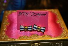 ♡ New Betsey Johnson Yellow Skull Ship Shape Stripe Bow Nautical Stud Earrings