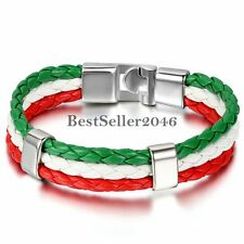 World Cup Soccer Leather Braided Rope National Flags Souvenir Bracelet Wristband