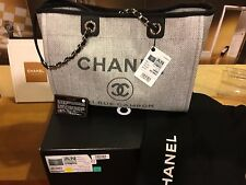CHANEL WHITE METAL DEAUVILLE LARGE SHOPPING BAG PURSE TOTE BRAND NEW + ORGNL BOX