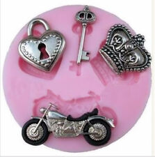 Key Locket Crown Motorcycle Silicone Mold for Fondant Chocolate , Crafts NEW