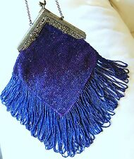 Antique Filigree Frame Purple Crochet Cobalt Blue Bead Long Fringe Flapper Purse
