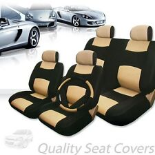 PREMIUM BLACK TAN SYNTHETIC LEATHER CAR SEAT STEERING COVERS SET FOR CHEVROLET