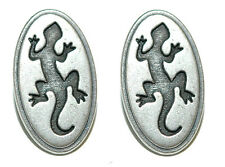 SILVER TONE METAL GECKO CUFF LINKS (066a)