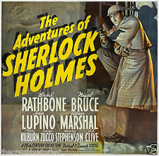 SHERLOCK HOLMES 1939 Vintage Movie Poster Reproduction CANVAS ART PRINT 24x24 in