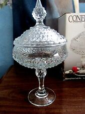 VINTAGE CONFECTIONS, BY INDIANA GLASS CLEAR DIAMOND POINT COMPOTE NIB