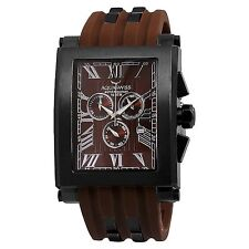 NEW Aquaswiss 64XG015 Mens TANC XG Rectangular Brown Roman Numeral Watch
