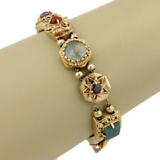 ESTATE 14K YELLOW GOLD MULTI COLORED GEMSTONE SLIDER CHARM BRACELET