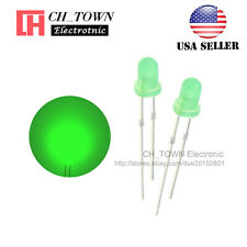100pcs LED 3mm Diffused Green-Green Round Top F3 DIP Light Emitting Diode LED