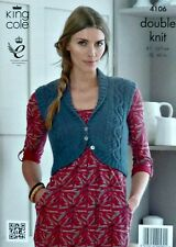 KNITTING PATTERN Ladies Sleeveless Roll Collar Cable Bolero Waistcoat DK KC 4106