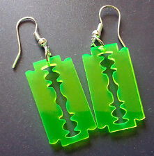 Razor Earrings - Neon Green - punk cybergoth cyberpunk raver dayglo