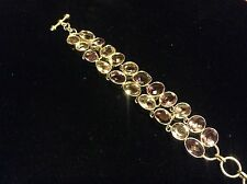 Really great sterling silver amethyst bracelet Feb birthstone 21 Large stones