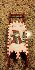 Primitive Sled Wreath Wood Sled Door Hanging Christmas Decor Snowman Porch Sled