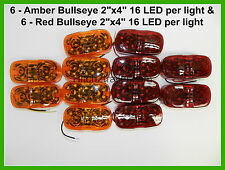 12 Bullseye AMBER & Red 16 LED 2 x 4 surface mount Clearance trailer camper RV