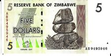ZIMBABWE 2007 5 DOLLARS CURRENCY UNC