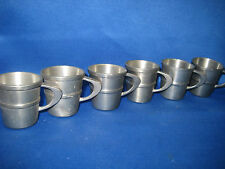 6 Antique German Engraved Solid  Heavy Pewter Shooters with Handles Beautiful