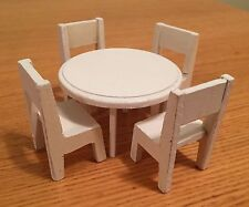 Vintage CAROLINE'S HOME/LUNDBY SOLID WHITE WOOD TABLE AND FOUR CHAIRS
