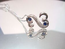 Jane Seymour Open Hearts Sapphire and Diamonds Necklace Sterling Silver