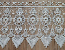 "36"" White Macrame Lace Window Curtain Valance 12"" Length"