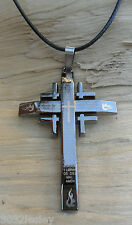 Latin Lord's Prayer Pewter Effect Crucifix Cross & Black Cord Necklace NEW