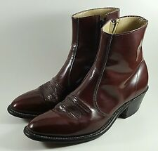 Men's Hanover Made in USA Burgundy Leather Western Cowboy Ankle Boots (Sz 7.5D)