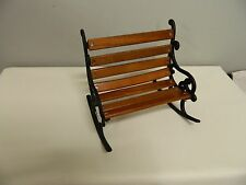 Black Wrought Iron & Wood Slats Doll Furniture Park Bench Rocker