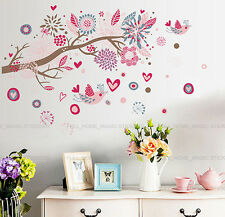 Huge Pink Flower Birds Blossom Tree Wall Stickers Home Art Decor Paper Removable