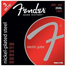 Fender 250L Nickel Plated Steel Electric Guitar Strings - Light - 9-42 - 3 Pack