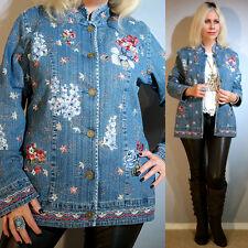Vtg 90s Floral Embroidered Jean Denim Ethnic Boho Hippie Festival Coat Jacket