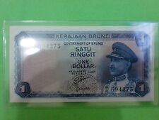 Brunei $1 1967 (aUNC) Government Of Brunei A/4  694275 (RARE)