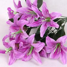 New Silk Flower Artificial Lilies Bouquet 10 Heads Home Wedding Floral Decor