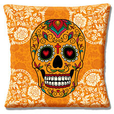 "Retro Kitsch Mexican Sugar Skull Day of the Dead Orange 16"" Pillow Cushion Cover"