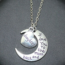 Daughter Love You Forever I Love you to the moon and back Moon Necklace Pendants