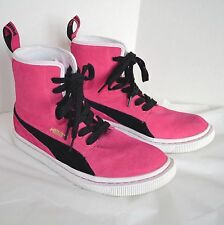 Puma Eco Ortholite Pink Suede Black High Top Sneaker Trainer Women Sport Shoe 11