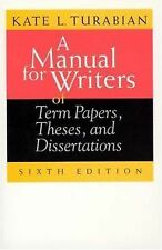 A Manual for Writers of Term Papers, Theses, and Dissertations Chicago Guides t