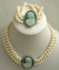 3Strand 7-8mm White Akoya Pearl Cameo Necklace Bracelet