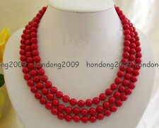 3 row Genuine 8MM Red Sea Coral Beads Necklace
