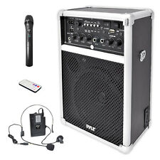 PYLE DUAL CHANNEL 400W CORDLESS WIRELESS PA SPEAKER SYSTEM TWO VHF MICROPHONES