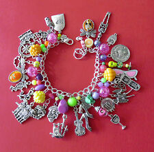 NEON SP DAYof the DEAD cha cha charm bracelet:RIP,COFFIN,Sugar Skulls,Band,+