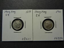 HONG KONG 1899 + 1901 QV SILVER FIVE 5 CENTS COMBO, FRESH EF++ !