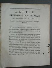 Lettre Ministre de l'intérieur à la convention nationale. Paris, 4 Novembre 1792