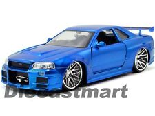 JADA 97173 FAST AND FURIOUS BRIAN'S 2002 NISSAN SKYLINE GT R R34 1:24 BLUE