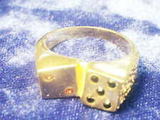 bling gold plated casino riverboat dice men`s ring hip hop jewelry size 9 PLAY