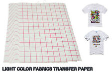 10 SHEETS A4 INKJET HEAT IRON ON TRANSFER PAPER For Light Color Fabrics
