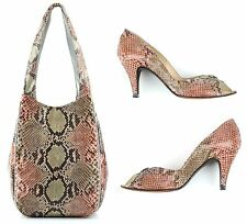 VTG 1970s HALSTON MULTICOLOR PASTEL PYTHON SNAKESKIN HANDBAG SHOES PUMPS SET