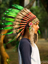 Costume Hats Indian Headdress Real Chief Native American Feathers War Bonnet