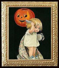 HALLOWEEN NIGHT Dollhouse Picture Miniature Framed Art - MADE IN AMERICA