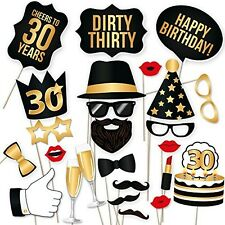 Birthday Party Photo Booth Props Stick Kit 30th Happy Unisex Celebration 34 Pcs