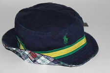 NWT POLO RALPH LAUREN S/M Mens Navy Chino Patchwork Plaid Reversible Bucket Hat