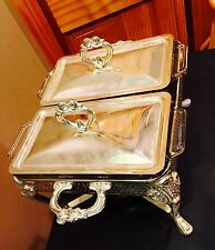 Vintage Silverplate Anchor Hocking Double Divided Chafing Dish