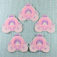 Purple Pink Cinderella Carriage Embroidered Iron Sew on Applique Patch Transfer